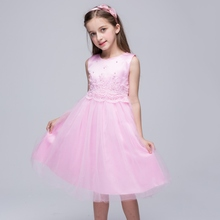 Summer Cute Solid Girls Princess Ball Gown Kids Sleeveless O-neck Formal Party Bowknot Dresses 3 Colors Pink White Blue LH6s