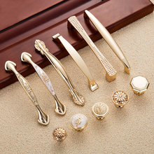 Gold Door Handles Wardrobe Drawer Pulls Kitchen Cabinet Knobs and Handles Fittings for Furniture Handles Hardware Accessories(China)