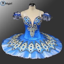 2017New blue girls dance wear tutu ballt skit dress child adult professol costume kids ballet blue dressBT9132C