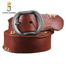 FAJARINA Personality Folded Vintage Cow Skin Leather Retro Belts Thick Lines Men's Leather Needle Buckle Belt for Men N17FJ086(China)