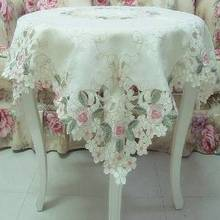 Elegant Shabby Vintage Floral Table Overlays For Weddings,Pink Rose Embroidered Tablecloth,Sweet Cherry Blossom Table Clothes(China)
