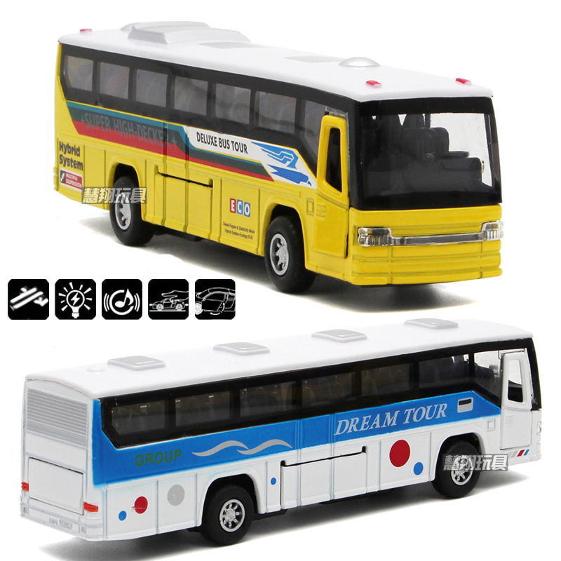 Free Shipping New diecast metal toy bus collection model car with pull back function openable doors For kids children gift toy(China (Mainland))