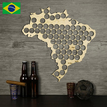 Free Shipping 1Piece Creative Wooden Beer Cap Trap Beer Bottle Caps Map of Brazil Board Wall Art For Cap Collector Beer Drinker
