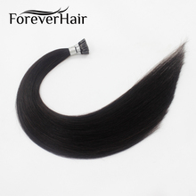 "FOREVER HAIR 0.8g/s 20"" Remy I Tip Human Hair Extension Natural Black #1B Indian Human Fusion Stick Pre Bonded Hair Extension(China)"