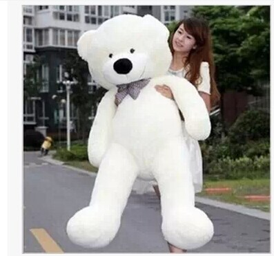 Stuffed animal huge 180cm white tie Teddy bear plush toy soft doll gift w1671(China (Mainland))