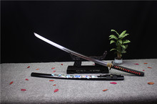 HandMade Japanese Sword Katana Samurai Sharpened T10 Soil To Burn Blade Wood Sheath HL