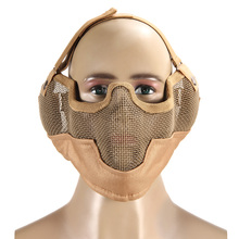 High Quality Airsoft Paintball Mesh Protecting Mask Half Face Guard Protect with Ears(Tan) Outdoor Game Protector BHU2