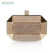 Luxury Party Clutch Bags Iron Box Full Diamond Evening Bags Solid Clutch Purse Wedding Shoulder Bags Gold/Silver/Black EB16(China)