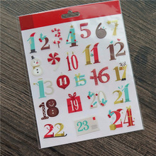 Christmas Decorative Numbers Self- adhesive Epoxy Sticker for Scrapbooking/ DIY Crafts/ Card Making Decoration