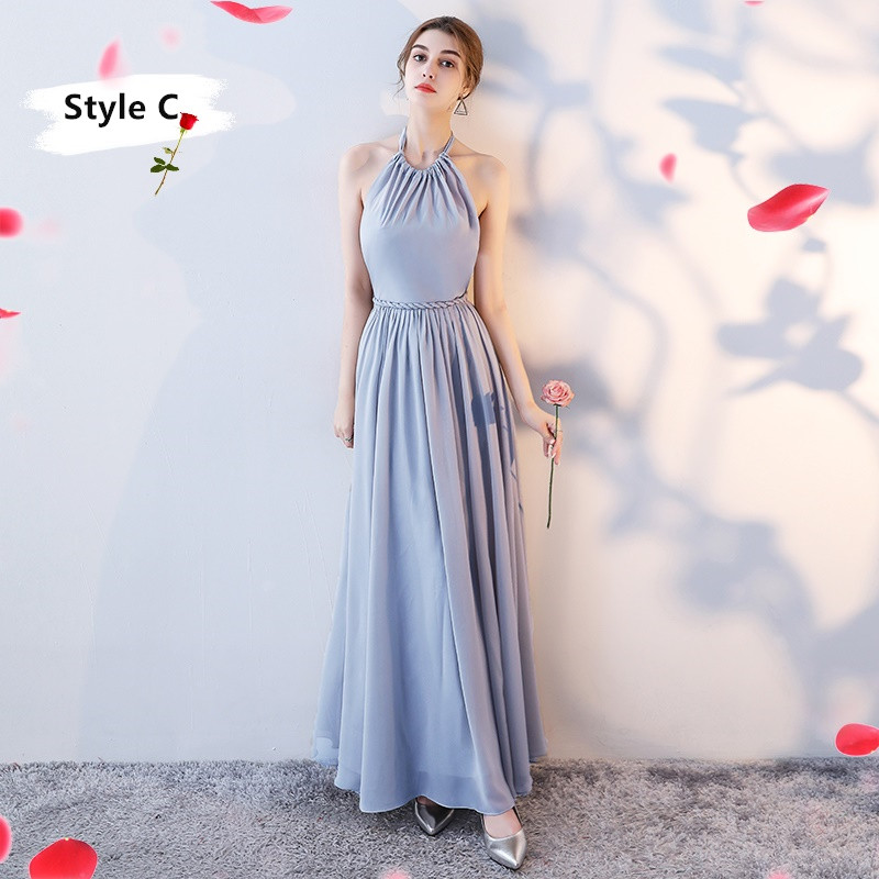 SOCCI Weekend Long Bridesmaid Dresses 2017 Sliver Sleeveless Sister Dress Grey Off shoulder Formal Wedding Party Gowns Robe de 13