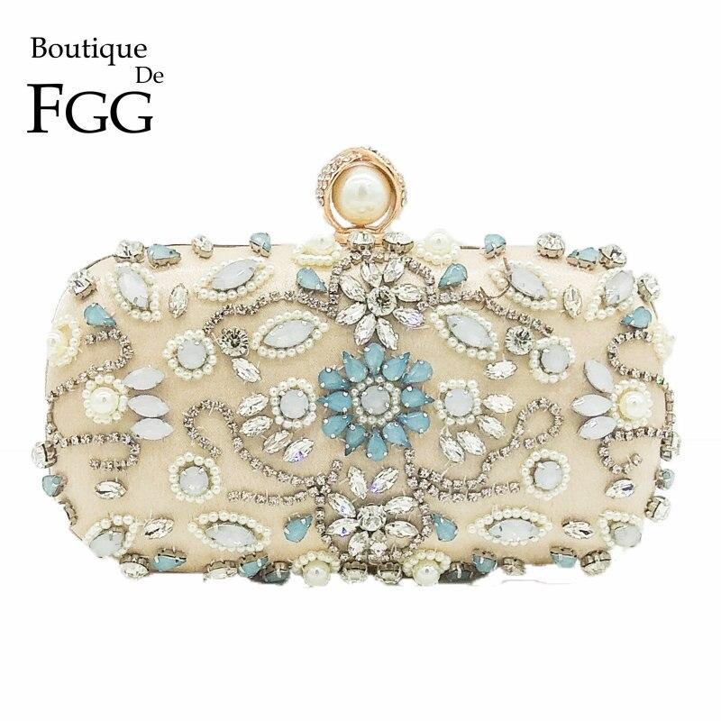 Boutique De FGG Vintage Retro Women Floral Beaded Crystal Clutch Evening Bag Bridal Beading Purse Wedding Diamond Handbag Clutch<br>
