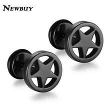NEWBUY Fashion Cool 5 Colors Star Stud Earrings For Men Women Stainless Steel High Quality Cute Earrings For Lover(China)