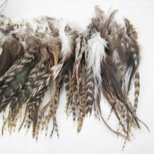 NEW Natura grey Colors 50Pcs Grizzly Feathers 6-8inch long FREESHIPPING(China)