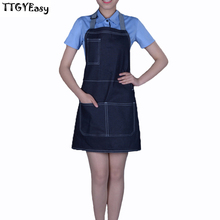 2017 New Aprons Denim Pocket Jeans BBQ Uniform Unisex Adult Aprons for Woman Men's Lady's Kitchen Cooking Pinafores Adjustable