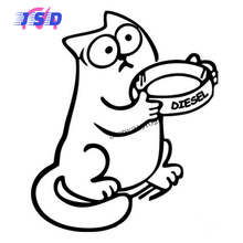 13.5x11.5 cm Car Styling Decals For Simon's Cat Hungry Funny Sticker For Mitsubishi Citroen Abarth Ford Jeep Honda LADA ISUZU MG(China)