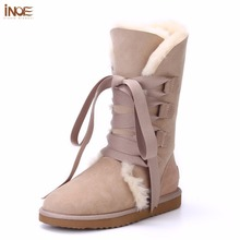 INOE Fashion women lace up winter high snow boots real sheepskin leather nature fur lined winter flats shoes bowknot black brown(China)