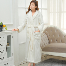 Lovers Extra Long Kimono Bath Robe Women Silk Flannel Warm Bathrobe Femme Dressing Gown Bride Bridesmaid Robes Wedding Peignoir(China)
