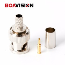 BNC Male Crimp Plug Connector RG59 Coaxial Cable BNC Connector BNC Male 3-Piece Crimp Connector Plugs RG59 100Pcs