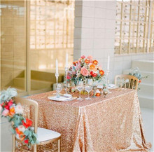 "Sequin Tablecloth Wedding Cake Tablecloth ,Rectangle /square Sequins Table Linen , wedding sequin table linens 90""X156""Rose Gold"