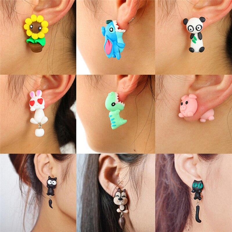 New 100% Handmade Polymer Clay Animal Cartoon Earrings Cute Cat Red Fox Lovely Panda Squirrel Tiger Stud Earrings For Women