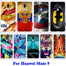Soft TPU Hard PC Phone Cases For Huawei Mate 9 Mate9 MHA-L29 MHA-L09 Housing Covers Cat Tiger Captain American Shell Hood Bags