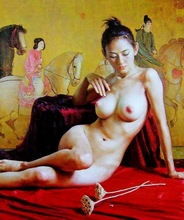 Free shipping Handmade Chinese Oil Painting Reprodcutions On Canvas  Decorative Hot Sexy Naked Oil Painting For wall Decor