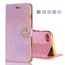 EKONEDA Bling Diamonds Case For iPhone 7 Flip Case Luxury Women Leather Wallet Phone Cover For iPhone 6 6S 6Plus 7 7Plus Case(China)
