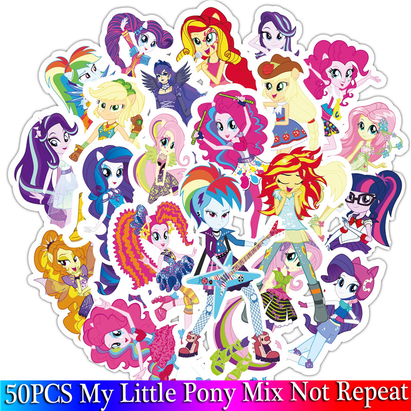 50PCS Little Pony Sticker Cute Cartoon Sticker Set For Children Travel Case Bicycle Fridge Laptop Kid Toy Anime Stickers Pack (3)