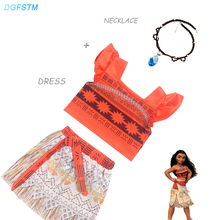 New Summer Moana Vaiana Dresses with Necklace Set for Girls Party Cosplay Costumes New Year Childrens Fancy Dress Christmas Gift(China)