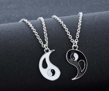 KUNIU New 1Pair Charm Lovers Necklace Hot Yin Yang Pendant Necklace Black White Couple Sister Friend Friendship Jewelry Gift