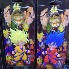 100PCS Cartoon Anime Dragon Ball Z Super Saiyan Goku Car Keychain PVC Action Figure Toys 2 surface Silicone Pendant Wholesale(China)