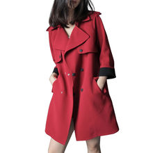 Buy Fashion Red Women Trench Coat Double-Breasted Elegant Long Trench Windbreaker Spring Coat Women Outwear Casaco Feminino C4362 for $48.06 in AliExpress store