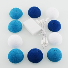 1.8M Tree Colors Aladin 10 Cotton Ball Battery String Light Blue Party Patio Decor Christmas Decorations For Home(China)