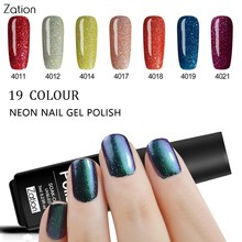 Zation Professional Nail Art Design 3D Lucky 7ML Glitter Neon Nail Gel Polish Soak Off Uv Rainbow Nail Gel Polish(China)