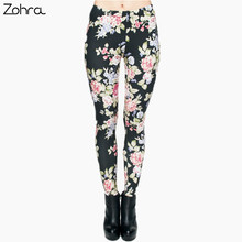 Zohra Hot Women Clothing Full Length 3D Graphic Full Print Fresh Flowers Leggings Sexy Fitness Punk Leggings Pants Workout(China)