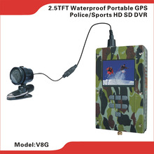 "New 2.5"" TFT Waterproof Portable HD SD DVR with 7hous Working With GPS Module & Antenna for Tracking & Google Map Viewing on PC"