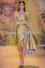 ph03376 real sample photo yellow satin with lace flowers inside short dress zuhair murad couture  prom dresses satin dress