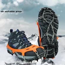 Pair Ice Snow Gripper Anti Slip Spikes Boots Climbing Crampons Mens Ice Snow Crampons Shoes Snow Walker for Skiing Hiking