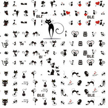 1 sheet Sexy Black Cat Water Transfer Nail Decals Tattoo Stickers Manicure Foil Wraps DIY Stylish Decoration Tools SABLE