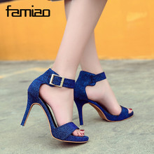Buy FAMIAO Women Sandals Gladiator Party Ankle Strap Patent Leather Concise Ultra High heel Pumps Fetish Sandals shoes 2018