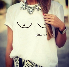 EAST KNITTING CD-H1311 Women Summer T Shirt Nipple Print Deal with It Letters Printed Funny Girl White T Shirt