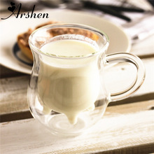Arshen 350ml Transparency Handmade Double-layer Cow Milk Glass  Mug Jar Heat Resistant Home Office Milk Coffee Tea Mug Gift