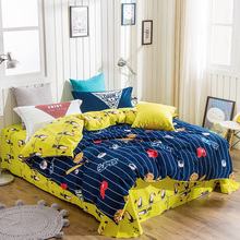 Baseball Birds Blue Yellow Queen King Size Soft Thick Sanding Cotton Bedlinens Duvet Cover Sets Fashion Winter Bedding Sets