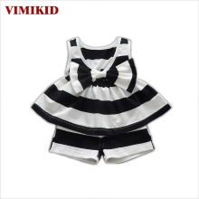 VIMIKID Nice kids designer brand kids Toddler Kids Baby Girls Summer Outfits Clothes Dress+Short 2PCS Set