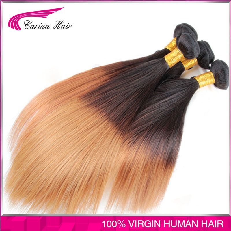 T1B/4/27 Ombre Brazilian Straight Hair Three Tone Colors Brazilian Virgin Hair 4 Bundles Ombre Dark Blonde Hair Extensions<br><br>Aliexpress