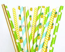 125pc Mixed 5 Color Pineapple Green Foil Gold Yellow Paper Straws,Party Decor,Cake Pops,Birthday,Baby Shower,Bridal,Wedding