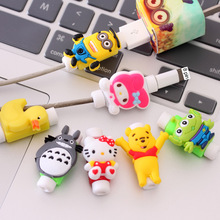Kawaii Cartoon USB Protector De Cabo For iPhone 6S iPhone7 Plus Case Cable Protector Cord Saver Cover For iPhone 5S SE Case