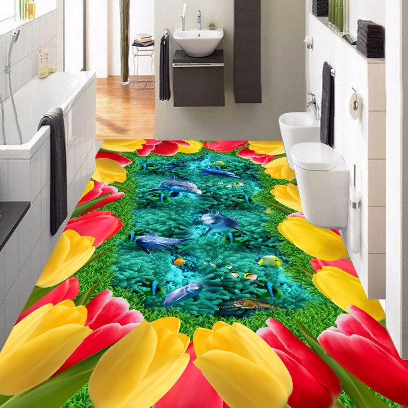 Free Shipping Lawn flowers sea world dolphin fish coral 3D stereo flooring Living Room bedroom lobby flooring wallpaper mural<br><br>Aliexpress