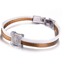 Genuine Leather Bracelet Cube Bead with Zircon Crystals Real Leather Bracelet Wristband Fashion Women Bracelet Jewelry MCB045