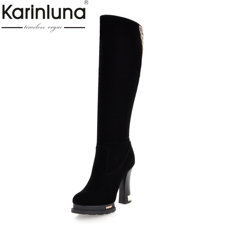 Karinluna High Quality knee-high Boots Fashion Round Toe Square High Heels Platform Women Boots Woman Size 34-39<br>